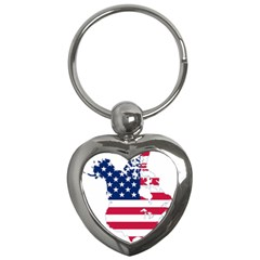 Flag Map Of Canada And United States (american Flag) Key Chains (heart)  by goodart