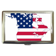 Flag Map Of Canada And United States (american Flag) Cigarette Money Cases by goodart