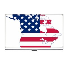 Flag Map Of Canada And United States (american Flag) Business Card Holders by goodart