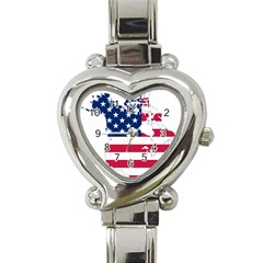 Flag Map Of Canada And United States (american Flag) Heart Italian Charm Watch by goodart