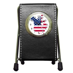 Flag Map Of Canada And United States (american Flag) Pen Holder Desk Clocks by goodart