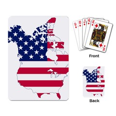 Flag Map Of Canada And United States (american Flag) Playing Card by goodart