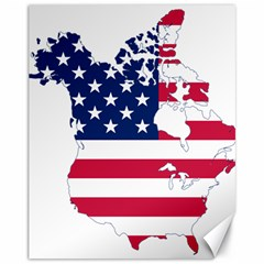 Flag Map Of Canada And United States (american Flag) Canvas 11  X 14   by goodart