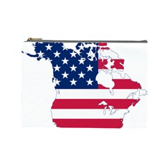 Flag Map Of Canada And United States (american Flag) Cosmetic Bag (large)  by goodart