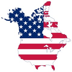 Flag Map Of Canada And United States (american Flag) Magic Photo Cubes by goodart