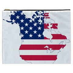 Flag Map Of Canada And United States (american Flag) Cosmetic Bag (xxxl)  by goodart