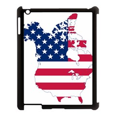 Flag Map Of Canada And United States (american Flag) Apple Ipad 3/4 Case (black) by goodart