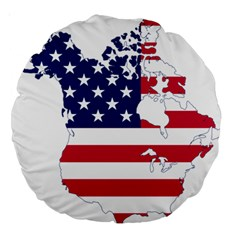 Flag Map Of Canada And United States (american Flag) Large 18  Premium Round Cushions by goodart