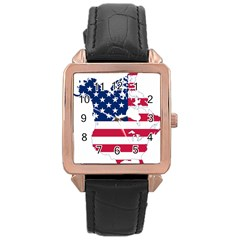 Flag Map Of Canada And United States (american Flag) Rose Gold Leather Watch  by goodart