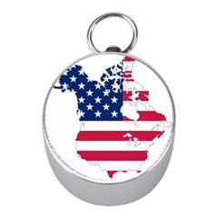 Flag Map Of Canada And United States (american Flag) Mini Silver Compasses by goodart