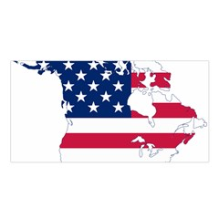 Flag Map Of Canada And United States (american Flag) Satin Shawl by goodart