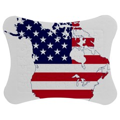 Flag Map Of Canada And United States (american Flag) Jigsaw Puzzle Photo Stand (bow) by goodart