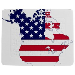 Flag Map Of Canada And United States (american Flag) Jigsaw Puzzle Photo Stand (rectangular) by goodart