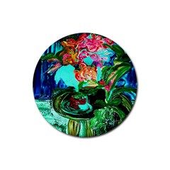 Flowers On The Tea Table Rubber Round Coaster (4 Pack)  by bestdesignintheworld