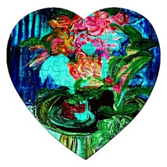 Flowers On The Tea Table Jigsaw Puzzle (heart) by bestdesignintheworld