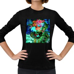 Flowers On The Tea Table Women s Long Sleeve Dark T Shirts