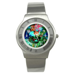 Flowers On The Tea Table Stainless Steel Watch