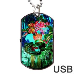 Flowers On The Tea Table Dog Tag Usb Flash (two Sides) by bestdesignintheworld