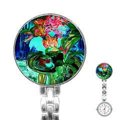 Flowers On The Tea Table Stainless Steel Nurses Watch by bestdesignintheworld