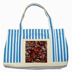 Connections Striped Blue Tote Bag by bestdesignintheworld