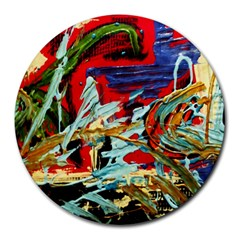 Blue Flamingoes 6 Round Mousepads by bestdesignintheworld