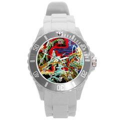 Blue Flamingoes 6 Round Plastic Sport Watch (l) by bestdesignintheworld