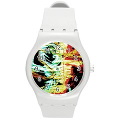 Blue Flamingoes 3 Round Plastic Sport Watch (m) by bestdesignintheworld