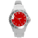 Revolutionary War Flag of New England Round Plastic Sport Watch (L) Front