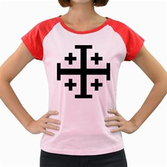 Black Jerusalem Cross  Women s Cap Sleeve T-shirt by abbeyz71