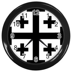 Black Jerusalem Cross  Wall Clocks (black) by abbeyz71