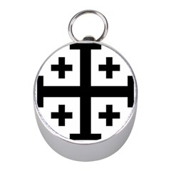 Black Jerusalem Cross  Mini Silver Compasses