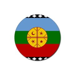 Flag Of The Mapuche People Rubber Coaster (round)