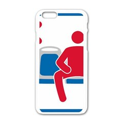 No Manspreading Sign Apple Iphone 6/6s White Enamel Case by abbeyz71