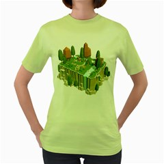 Camping Low Poly 3d Polygons Women s Green T Shirt