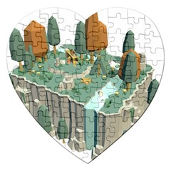 Camping Low Poly 3d Polygons Jigsaw Puzzle (heart)
