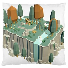 Camping Low Poly 3d Polygons Large Cushion Case (two Sides) by Simbadda