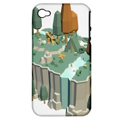 Camping Low Poly 3d Polygons Apple Iphone 4/4s Hardshell Case (pc+silicone)