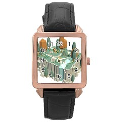 Camping Low Poly 3d Polygons Rose Gold Leather Watch