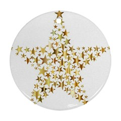 Star Fractal Gold Shiny Metallic Ornament (round)