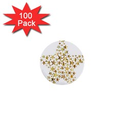 Star Fractal Gold Shiny Metallic 1  Mini Buttons (100 Pack)