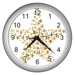Star Fractal Gold Shiny Metallic Wall Clocks (silver)