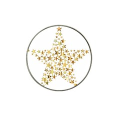 Star Fractal Gold Shiny Metallic Hat Clip Ball Marker (10 Pack)