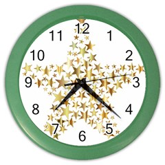 Star Fractal Gold Shiny Metallic Color Wall Clocks by Simbadda