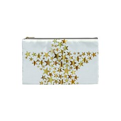Star Fractal Gold Shiny Metallic Cosmetic Bag (small)
