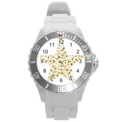 Star Fractal Gold Shiny Metallic Round Plastic Sport Watch (l) by Simbadda