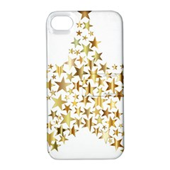 Star Fractal Gold Shiny Metallic Apple Iphone 4/4s Hardshell Case With Stand by Simbadda