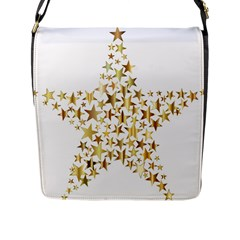 Star Fractal Gold Shiny Metallic Flap Messenger Bag (l)