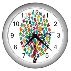 Tree Share Pieces Of The Puzzle Wall Clocks (silver)