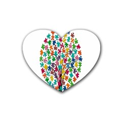 Tree Share Pieces Of The Puzzle Heart Coaster (4 Pack)