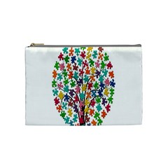 Tree Share Pieces Of The Puzzle Cosmetic Bag (medium)  by Simbadda